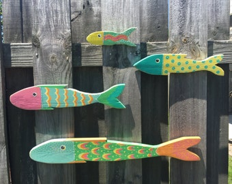 4 Whimsical Hand painted Picket Fish, Wood Fish, Reclaimed Art, Beach Decor, Nursery Decor