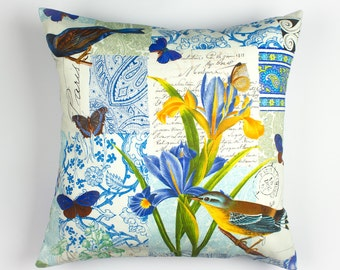 Floral Pillow Cover, Floral Pillowcase, Bird Pillow, Flower Pillow, Blue Pillow Covers, 16 x 16 Pillow Covers, Blue Floral Pillow, Cotton