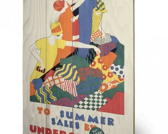 Transport For London (To Summer Sales, 1926) wooden wall print /wall hanging 40 x 59cm (16 x 23.6 inches) SW11767A