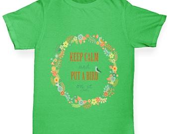Boy's Keep Calm And Put A Bird On It T-Shirt