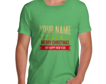 Men's Personalised Merry Christmas And Happy New Year T-Shirt