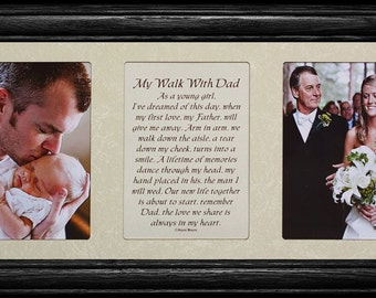 7x15 MY WALK With DAD Poetry & Photo Frame ~ Wedding/Christmas or Father's Day Gift for the Father of the Bride ~