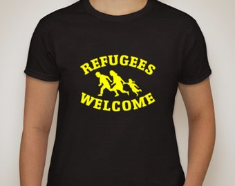 Refugees Welcome quality black t-shirt in either men's style t-shirt or ladies' style t-shirt (pictured)
