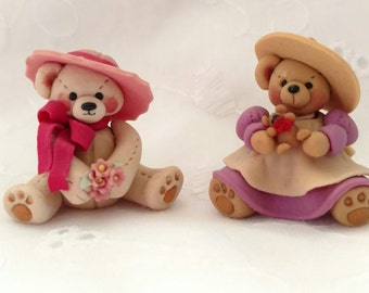 Vintage Two 1985 miniature LLA polymer clay bears.