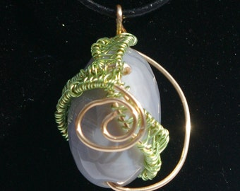 Gold and Green Wire Wrap Grey Agate Pendant