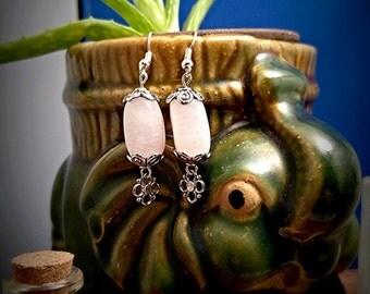 Genuine Rose Quartz Crystal, dangle earrings #15695
