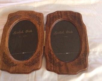 Vintage Solid Oak Double Picture Frame