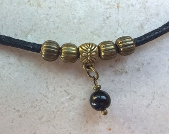 Onyx necklace man, Natural stone necklace, rope necklace for men