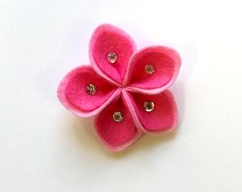 Felt Flower - 3D, Pink with Beads