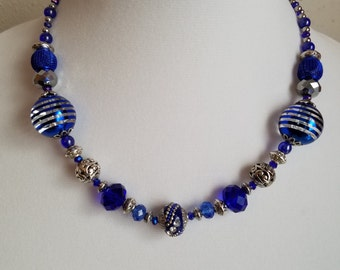 Set: Short Fun Blue Necklace and Earrings