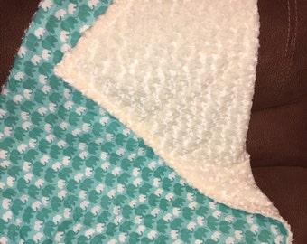 Elephant Minky Swirl Baby Blanket