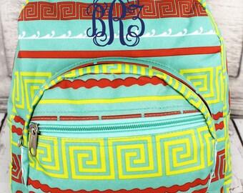 Monogrammed Backpack. Greek Key.  Great for Back to School!