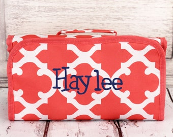 Monogrammed Roll Up Cosmetic. Coral Moroccan. Great for Travel