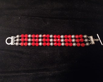 Cherry Red Faceted Glass Bracelet