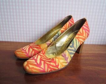 Vintage Bally Suisse Erasme Shoes Pumps Rainbow Satin Orange Golden Zebra Flocking Heels High Heel Leather Soles EU37.5 Italy Summer 80s 90s