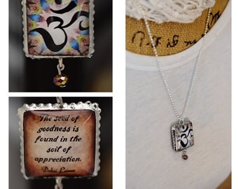 Charm/Yoga /Two Sides Unique/Dalai Lama/Inspirational/lotus flowser/Om/Quote/Inspiring/Soldered/Necklace/Ball Chain/Gift/Perfect Gift