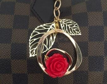 Bag charm red rose