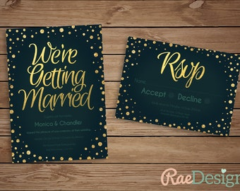 Printable Teal and Gold Sparkle Wedding Invitation and RSVP Set