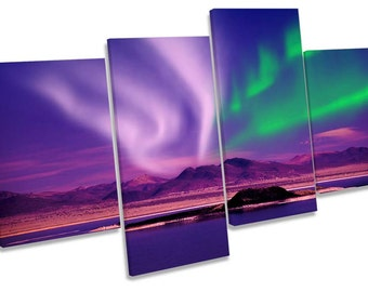 Space Northern Lights Night Multi CANVAS WALL ART Box Frame Print Picture