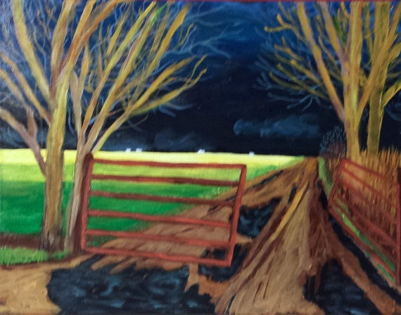 Holding My Breath, stormy painting, gated lane, field painting, tree art