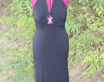Long Black Formal with Rhinestone Detail, Halter Dress, Cocktail Dress, Party Dress, Club Wear, Great for a Vampy Costume