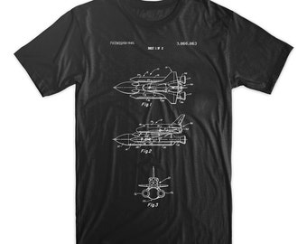 Space Shuttle Patent T-Shirt. Available on Black, White, Red, or Gray Tee. Spaceship. Blueprint. Astronaut. Space.  Soft Cotton Tee. Comfy.
