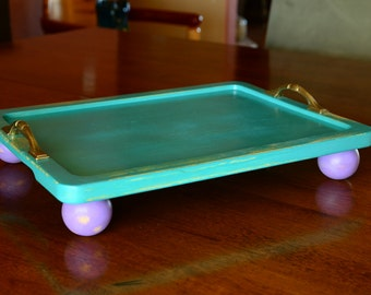 Wood Serving Tray decorative jewelry kitchen bathroom platter coffee table
