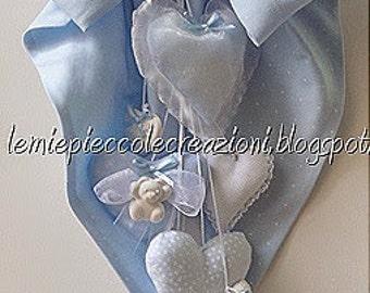 Stitchable hearts, Newborn, Hospital door hanger, Baby shower decoration, Handmade