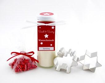 Geschenkset Elch Weihnachts Backmischung im Glas mit roten Schokolinsen - ideal als Geschenk zu Weihnachten, Nikolaus, Geburtstag