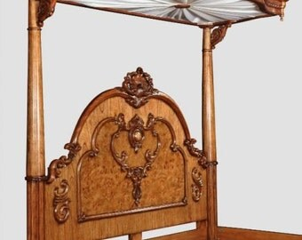 Regency Burr Walnut Range - Half Tester Canopy Victorian Style 5' King Size Bed