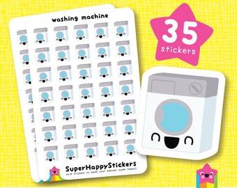 "35 Cute ""washing machine"" Planner Stickers, Filofax, Erin Condren, Happy Planner, Kawaii, Cute Sticker, UK"