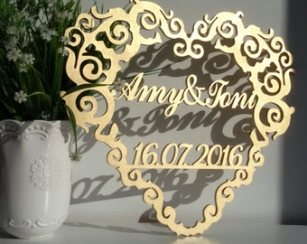 Wedding Heart with names and date .  Gold wedding decor.