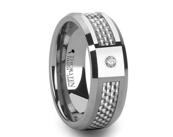 Diamond Tungsten Ring with White Carbon Fiber Inlay