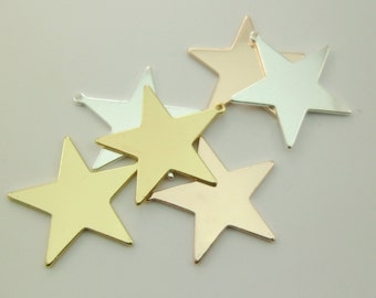 10pcs Delicate Large 31mm Gold, Silver & Rose Gold Star Pendants For Stamping Or Choker