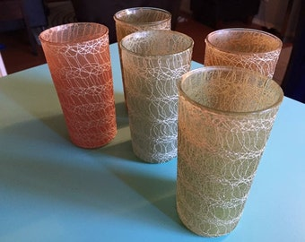 Vintage Spaghetti String Glasses Set of 5