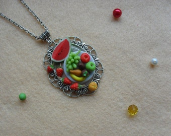 Fruit tray fimo miniatures chain necklace