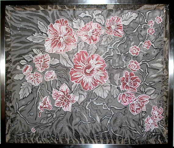 Original Painting on silk,Batik,Wall art,Silk art,Floral Flowers,Orchids,Gray red,Painted silk,Gift for her,Etsy