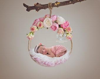 2x Digital Backdrop - Newborn floral basket (Morine)