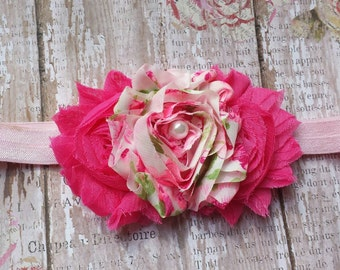 Pink and Floral Shabby Headband Infant/Toddler