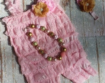 Pink and Gold Infant Toddler Lace Romper Set with Bubblegum Necklace and Headband