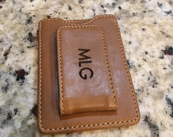 Personalized Men's Money Clip, leather money clip, groomsmen gift, gift for dad, fathers gift, gift for him, gift for boyfriend