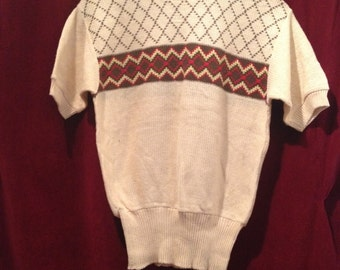 VINTAGE 1940's / 50's Cable Knit Sweater, jumper/ Dead Stock.