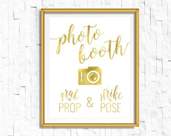 Gold Photo booth Sign Grab a Prop Strike a Pose | Printable Instant Download Wedding Ceremony Reception Sign Gold Foil Calligraphy | WS1