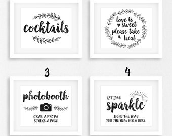 Black Wedding Sign Bundle, DIY Printable Instant Download, Buy More Save More, Wedding Ceremony Reception Sign Kraft Mod, WRusB1