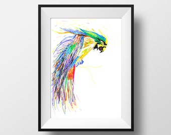 Colourful Parrot, Parrot, Wall Art, Print