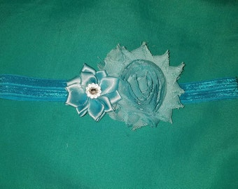 Aqua flower headband
