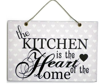 Handmade Wooden ' The Kitchen Is The Heart Of The Home ' Sign 153
