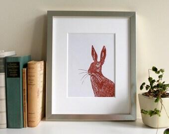 Linocut print Hare, original print, limited edition, brown, animal illustration, art, wall decor, handmade, printmaking, linoprint,