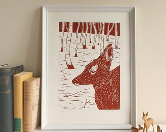 Deer, original linoprint, limited edition, printmaking, animal illustration, art, handmade, wall decor, brown, nature print, forest