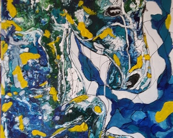 original acrylic painting, original acrylic paints, cheval.horse. SAPHYR TO THE GALLOP
